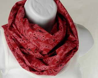 Red Bandana Scarf/Infinity Scarf/Red Paisley Rodeo Bandana Scarf/Red Bandana Country Western Double Loop Scarf Handmade by Thimbledoodle