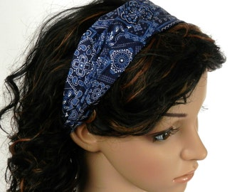 Denim Blue Bandana Headband Country Western Rodeo Hair Accessory Blue and White Paisley Bandana Print Headband Handmade  by Thimbledoodle