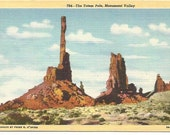 The Totem Pole, Monument Valley, Utah Frank E. O'Brien Linen Post card Vintage Postcard