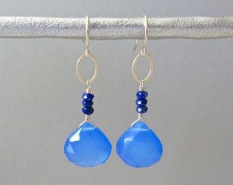 Chalcedony Drop Earrings - Drop Earrings - Dangle Earrings - Gold Earrings
