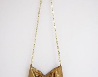 LAST One - Gold Leather Purse