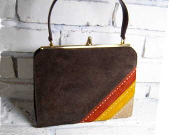 Smart Seventies Bag, A Lia Handbag in Brown, Rust, Yellow Ochre and Tan Simulated Leather with Top Stitching - CLOSING Sale