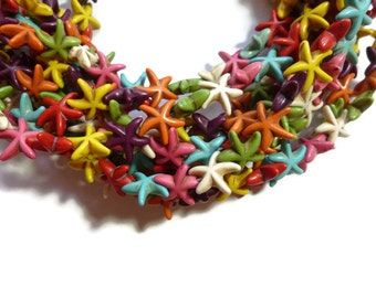 Mixed Color Howlite - Starfish or Star Bead - 15mm x 5mm - 36 beads - Full Strand - Rainbow - variety - colorful