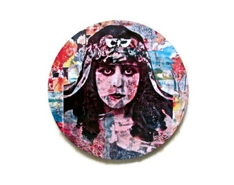 Drink Coaster - Mix and Match - Printed Art Coaster - Gift for Her - Theda Bara Vintage Woman Art - Unique Gift - Bar Decor - Hostess Gift