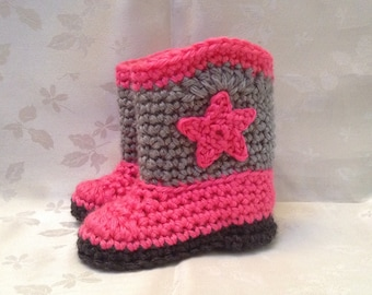 Baby Cowboy Boots Hot Pink and Gray Cowboy Booties Made to Order Infant Booties Baby Boy Booties Baby Girl Booties