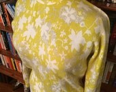 Cashmere Cutie--Lovely 1950s Cashmere PRINGLE of Scotland Sweater in Spring Colors and Floral Design