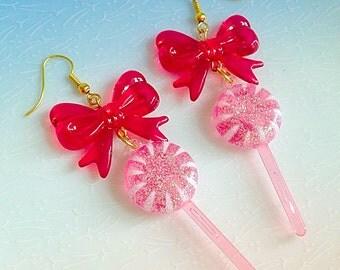 Lollipop Earrings - Kawaii, Lolita, Red, Swirls, Sweet, Candy, Fairy Kei, Bow