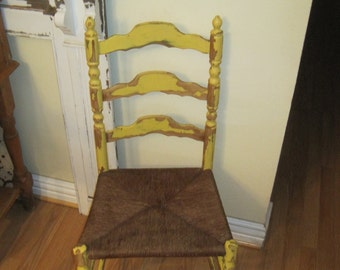 Vintage Farmhouse Desk Chair - Grungy Rustic Wood Ladder Back Chair - Shabby Chic Chippy Yellow - Rush Seat