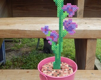 OOAK Purple orchid pixel art retro flowers original design flowerpot colorful fake flower handmade