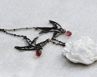 Birds Flower Necklace Swallow Crystal Drops Large White Peony Necklace Floral Pendant Purple Crystal Tear Drops Flower Bird Jewelry - N345