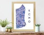 Kansas City Print   Neighborhood Map   Typography Poster   KCMO   Kansas City Neighborhoods   Blue Art   Royals Home Decor
