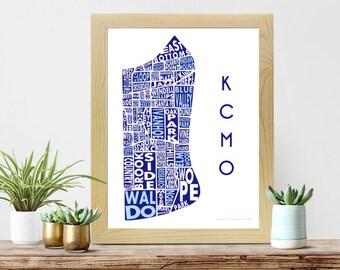 Kansas City Print | Neighborhood Map | Typography Poster | KCMO | Kansas City Neighborhoods | Blue Art | Royals Home Decor