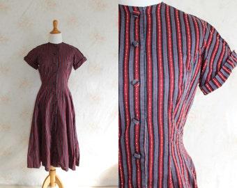 Vintage 50s Day Dress, 1950s Striped Dress, Swiss Dot, Full Skirt