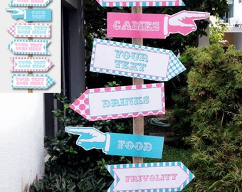 Circus Party Directional Signs - Direction Arrows - Pink Aqua - Carnival Party - INSTANT DOWNLOAD with EDITABLE text - comes in 2 sizes