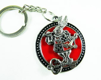 Key Chain, Alice in Wonderland Key Chain, Silver and Enameled White Rabbit Mens Womens Gift