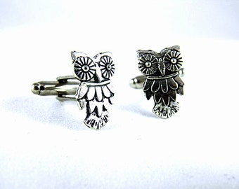 Mens cufflinks,  Silver Owl Cufflinks Steampunk Gothic Mens Accessory Wedding Groomsmen
