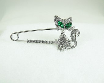Silver Brooch Pin, Silver Kitty With Clear Rhinestones And Emerald Green Eyes  Womens Gift