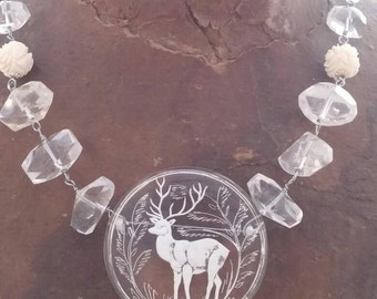 BEAUTIFUL DEER reverse carved Lucite pin  vintage assemblage antique necklace