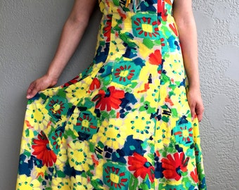 Vintage Multi-Color Floral and Striped Maxi Dress