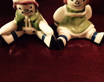 "Vintage Raggedy Ann and Andy Salt and Pepper Shakers from 60""s"