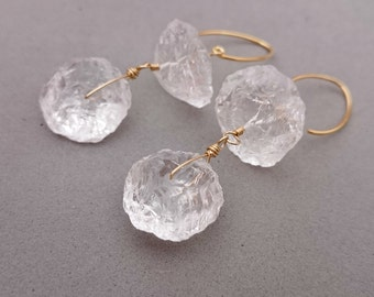 Reserved Raw Rock Crystal Earrings Wire Wrapped Gold Filled Earrings