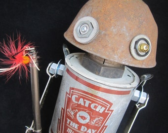 Po Folks Bot - found object robot sculpture assemblage by Cheri Kudja with Bitti Bots