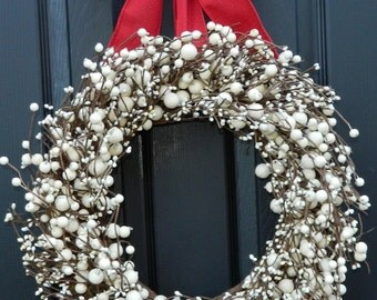 Christmas Berry Wreath - Cream Berry Wreath - Door Wreath - Holiday Wreath - Many Bow Options