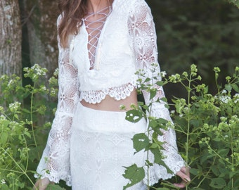 "Crochet Lace Wedding Dress, Two Piece Gown, Lace Up Gown, Long Sleeves Wedding Dress - ""Fleetwood"""
