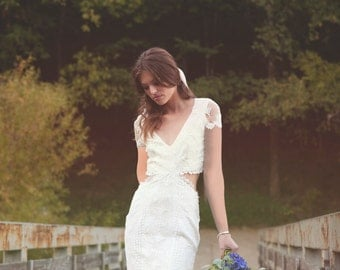 "Backless Dress Cap Sleeves Bohemian Wedding Dress Crochet Lace Gown BOHO - ""Olsen"""