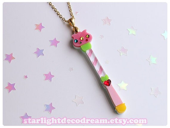 Sale pastel yumi tulip wand necklace acrylic by starlightdecodream - Pastelltone wand ...