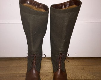 Vintage Green & Brown Leather and Canvas Cole Haan Equestrian Riding Boots