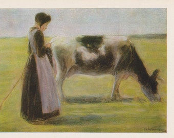 "Max Lieberman ""Girl with Cow"" Print, Postcard -- 1982"