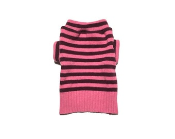 Designer Dog Sweater, Small Soft Wool Blend Pink and Purple Striped, Girl Dog Clothes, Pet Apparel, Puppy Boutique 0329
