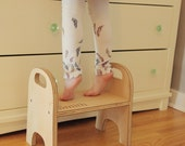 child's step stool - handmade wooden stepping stool, doubles as a chair, modern all natural handmade kids furniture