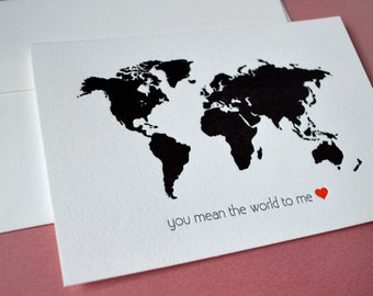 you mean the world to me mini notecard :  letterpress