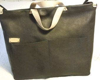 Black Leather Large Laptop Baby Diaper Tote Shoulder Bag Gorgeous lined Moey Poppins