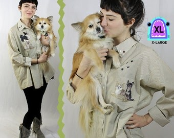 Chihuahua Glitter Puff Paint Collared Long Sleeved Button Up