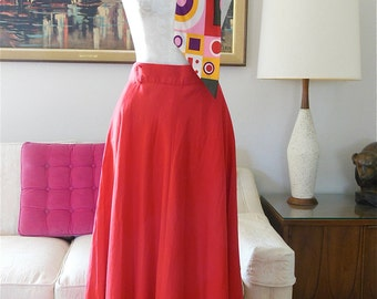 Red Linen Skirt Liz Claiborne Skirt Belted High Waisted Long Skirt Size 12 Medium Skirt with Pockets  from The Back part of the Basement