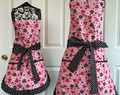Hearts Ladybugs Pink Spring Mother Daugher Reversible Aprons