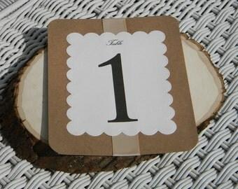 Kraft Paper Wedding Table Numbers, Layered Table Numbers, Table Cards, Table Numbers, Rustic, Romantic, Vintage, Wedding