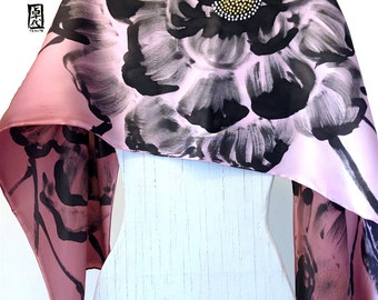 Hand Painted Silk Scarf, Pink Brown Ombre Floral Scarf, Fall Scarf, Japanese Silk Scarf, Silk Charmeuse Scarf, 15x60 inches.