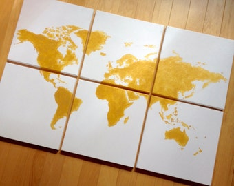 "gold world map canvas. 6 - 12x12's custom colors hand painted original art. 36""x24"" total size. pick your colors. gold metallic and white"