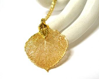 Real Leaf 14k Pendant Necklace, Dipped 14k Gold, Aspen, Excellent