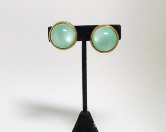 Vintage Moon Glow Earrings Mint Green Lucite 1950s