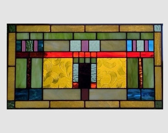 Arts and crafts stained glass panel window hanging amber stained glass window panel mission prairie style 0143 20 1/4 x 11 1/8