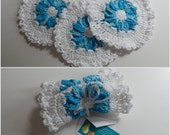 Crochet Dishcloth Gift Set – Includes Gift Card – Flower - Turquoise and White