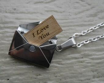 I Love You Envelope Locket Necklace. Or CHOOSE YOUR WORDS. Wedding, Men, Groom Gift, Anniversary, Birthday, Valentine.