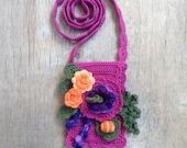 Boho bag iPhone 6 case Crossbody smartphone purse with flowers Purple orange wedding Maid of honor gift Mom gift Grandma gift Floral