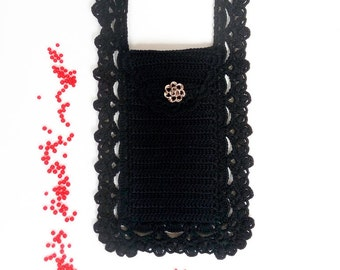 Halloween party black crossbody phone purse Smartphone bag pouch wallet case Crochet lace Gift for her Victorian costume accessory Fall