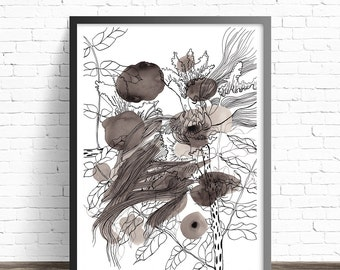 Ink Illustration Print. Black and white abstract art. Flower illustration art. Line drawing Ink wash abstract floral painting. Ink painting.